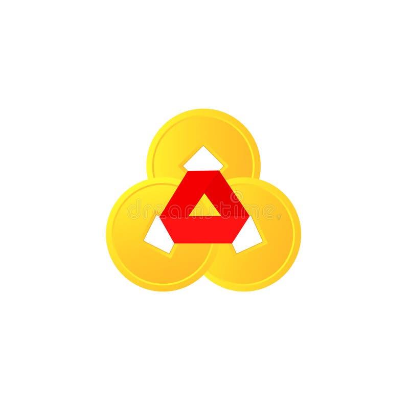 Symbol för mynt för Feng shuikines tre stock illustrationer
