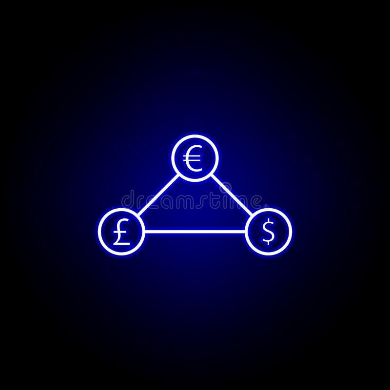 symbol för nätverk för eurodollarpund i neonstil Best?ndsdel av finansillustrationen Tecknet och symbolsymbolen kan anv?ndas f?r  royaltyfri illustrationer