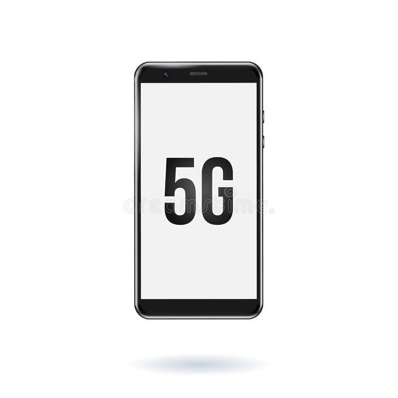 symbol för nätverk 5G i en smartphone ny tr?dl?s wifianslutning f?r internet 5G ocks? vektor f?r coreldrawillustration royaltyfri illustrationer
