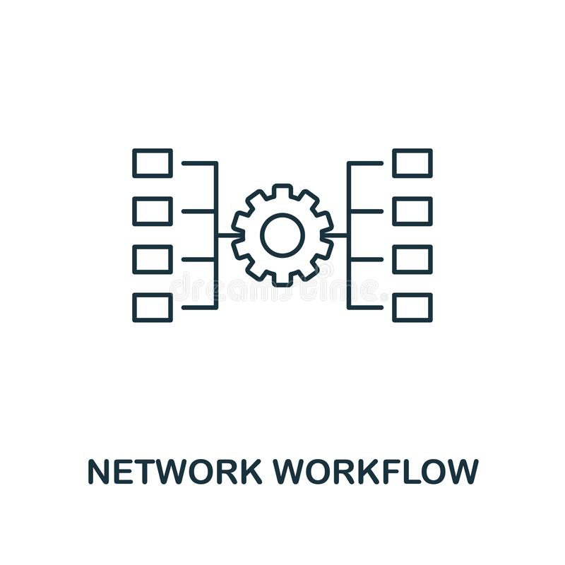 Symbol för nätverksWorkflowöversikt Tunn linje stil från stor datasymbolssamling Perfekt enkelt beståndsdelnätverk för PIXEL royaltyfri illustrationer