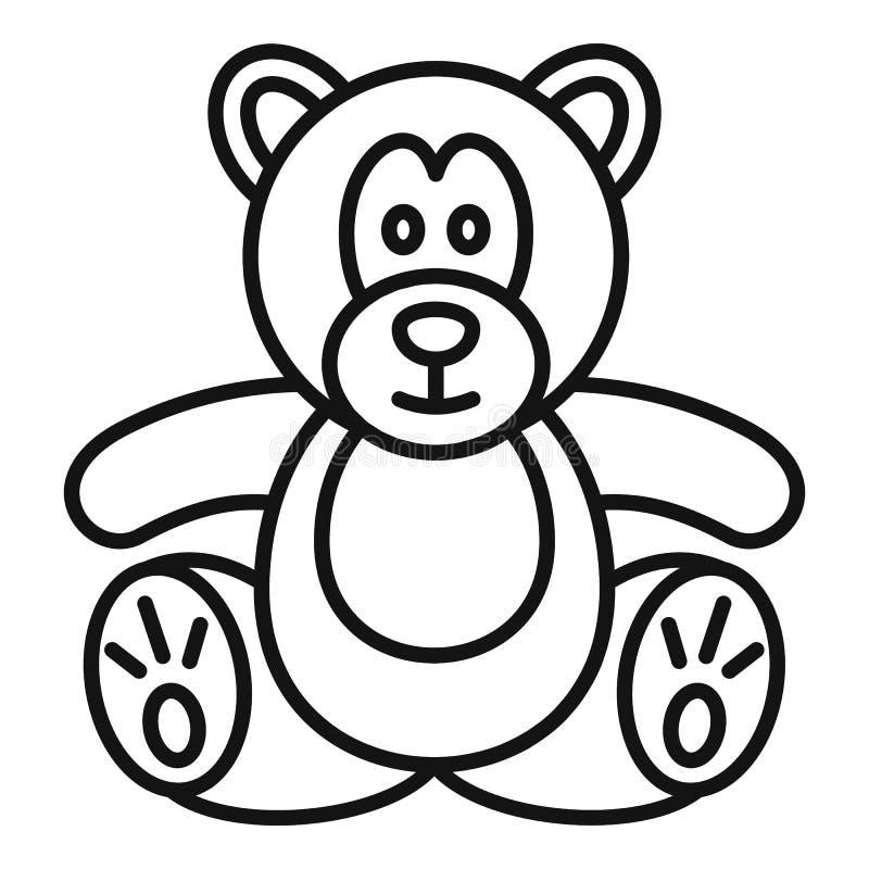 Symbol för nallebjörn, översiktsstil vektor illustrationer