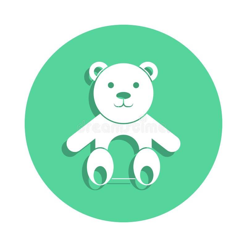 Symbol för nallebjörn i emblemstil En av leksaksamlingssymbolen kan användas för UI, UX royaltyfri illustrationer