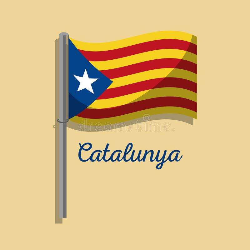 Symbol för nationalism för Catalonia flaggastolpe vinkande stock illustrationer