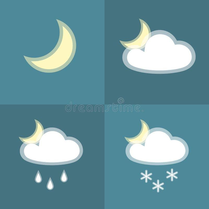 Symbol för natt för snö för månemolnregn som enkel isoleras på plan design för blått väder för bakgrundssymbolssymbol mån- molnig vektor illustrationer