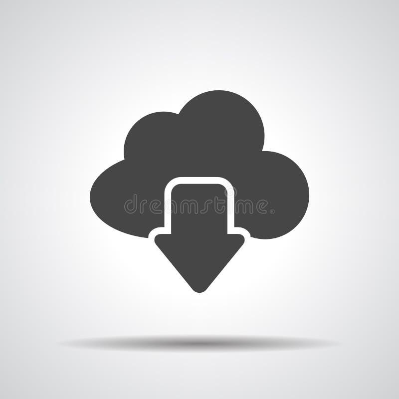 Symbol för nedladdning för vektormoln beräknande, royaltyfri illustrationer