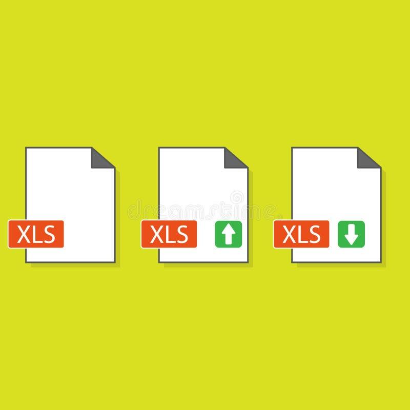 Symbol för nedladdning XLS Mapp med XLS-etiketten och ner piltecknet Räknearkmappformat Nedladda dokumentbegrepp Plan design stock illustrationer