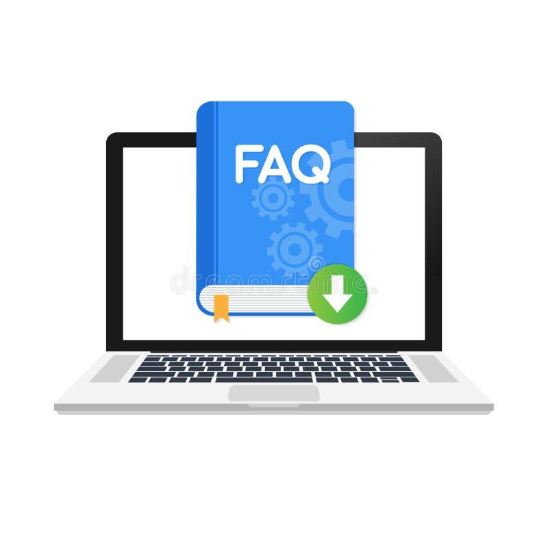 Symbol för nedladdningFAQ-bok med frågefläcken Boka symbolen och hjälp, hur till, information, frågabegrepp vektor illustrationer