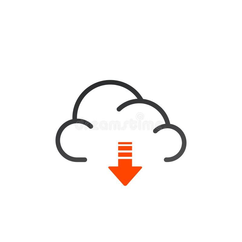 Symbol för nedladdningmolnöversikt linjärt stiltecken för mobilt begrepp och rengöringsdukdesign Beräknande pil för moln ner den  stock illustrationer