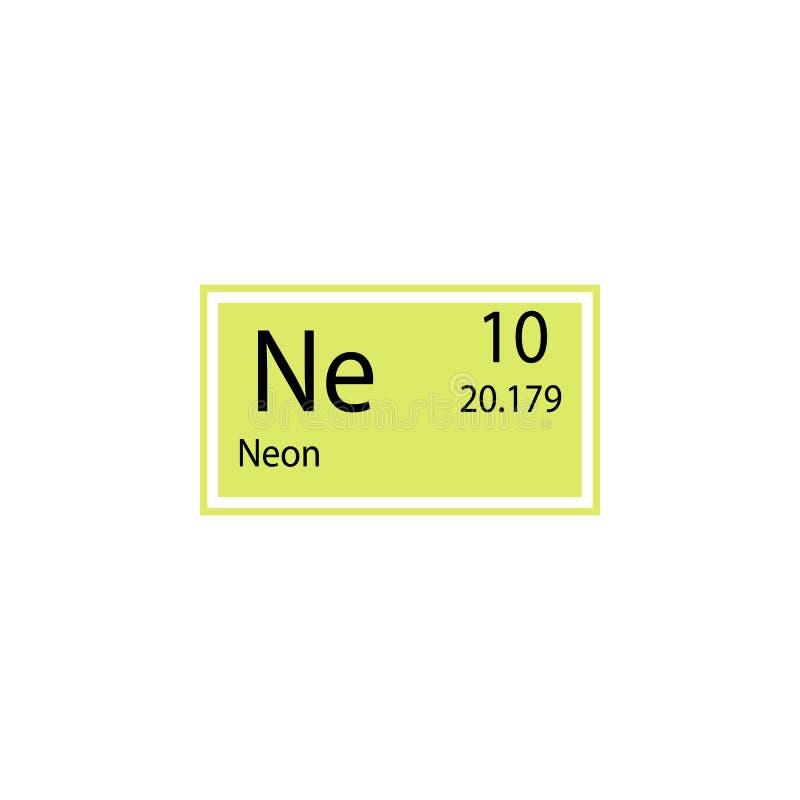 Symbol för neon för beståndsdel för periodisk tabell Beståndsdel av den kemiska teckensymbolen Högvärdig kvalitets- symbol för gr vektor illustrationer