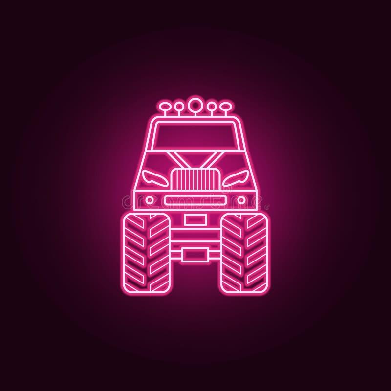 Symbol för neon för Bigfoot bil främre Best?ndsdelar av den bigfoot bilupps?ttningen Enkel symbol f?r websites, reng?ringsdukdesi royaltyfri illustrationer