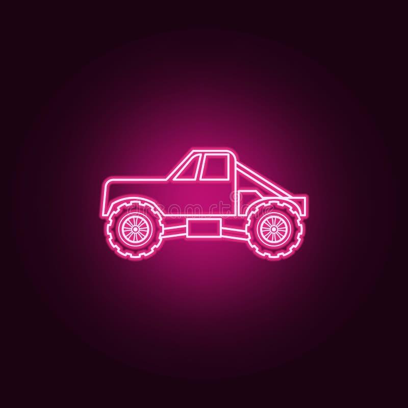 Symbol för neon för lastbilbigfoot bil Best?ndsdelar av den bigfoot bilupps?ttningen Enkel symbol f?r websites, reng?ringsdukdesi stock illustrationer