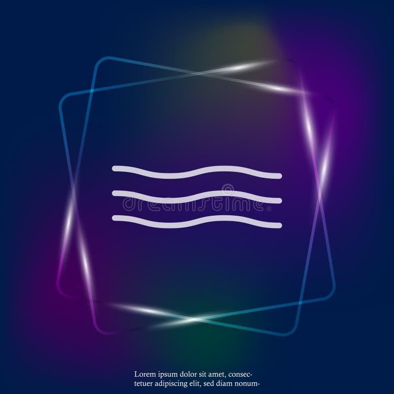 Symbol för neon för vektor för tre vågor ljus Symbol av havsvatten Symen vektor illustrationer