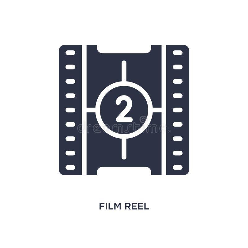 symbol för nummer 2 för nedräkning för filmrulle på vit bakgrund Enkel beståndsdelillustration från biobegrepp stock illustrationer
