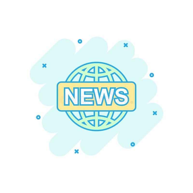 Symbol för nyheterna för vektortecknad filmjordklot i komisk stil Världsnyhetertecken I royaltyfri illustrationer