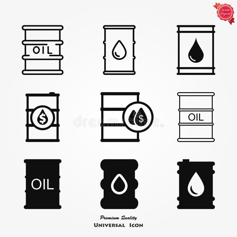 Symbol för olje- trumma med teckenlägenheten för apps och websites vektor illustrationer