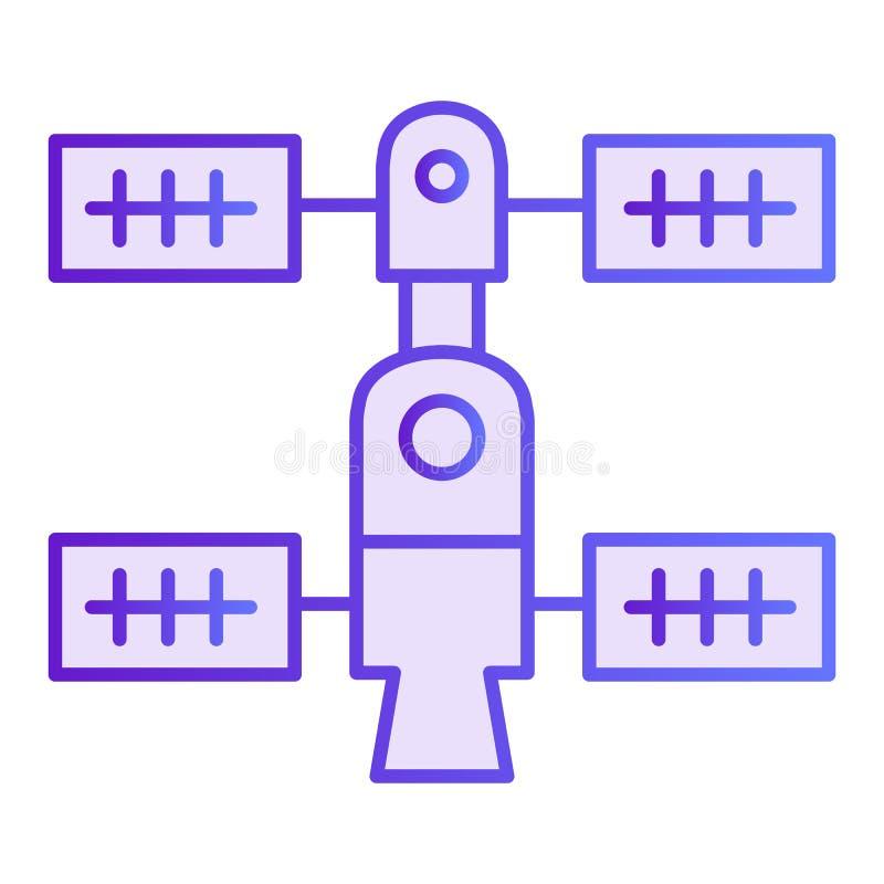 Symbol för orbital station för utrymme plan Violetta symboler för rymdskepp i moderiktig plan stil Design för stil för lutning fö stock illustrationer