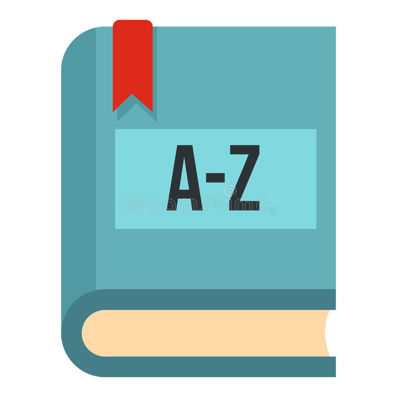 Symbol för ordbok för utländskt språk, lägenhetstil royaltyfri illustrationer