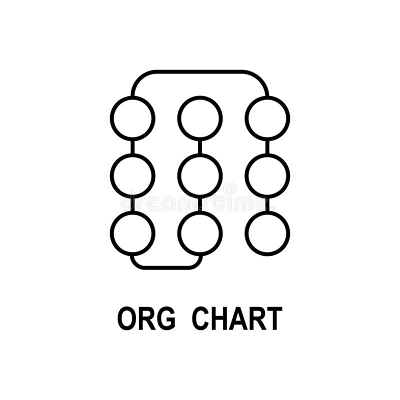 Symbol för organisatoriskt diagram Beståndsdel av affärsstruktursymbolen för mobila begrepps- och rengöringsdukapps Tunn linje sy stock illustrationer