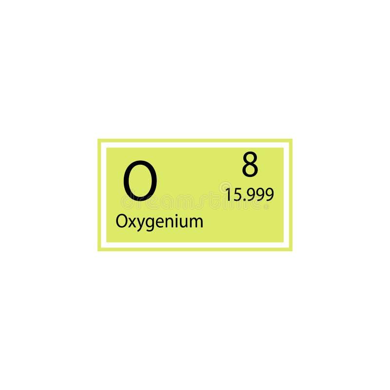 Symbol för oxygenium för beståndsdel för periodisk tabell Beståndsdel av den kemiska teckensymbolen Högvärdig kvalitets- symbol f royaltyfri illustrationer