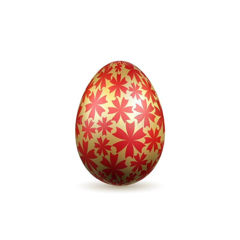 Symbol för påskägg 3D Guld- ägg, isolerad vit bakgrund Ljus röd blommadesign, lycklig guld- realistisk garnering stock illustrationer