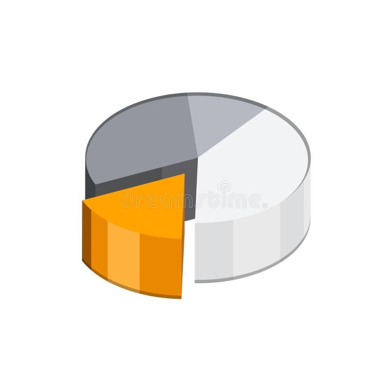 Symbol för pajdiagram Isometrisk 3d royaltyfri illustrationer