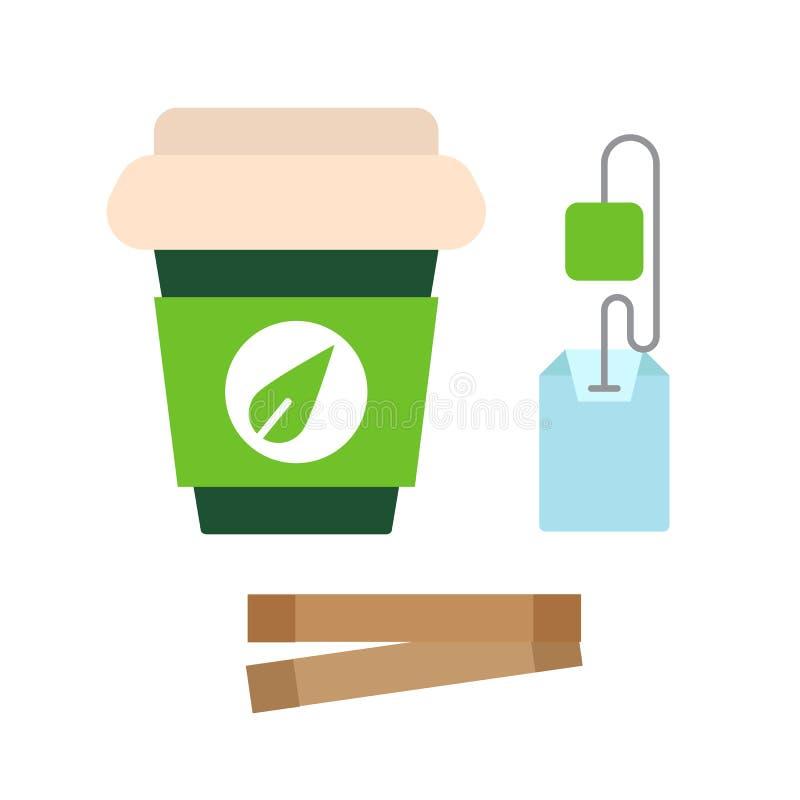 Symbol för pappers- kopp för te plan, för tepåse och för socker, vektortecken, färgrik pictogram som isoleras på vit royaltyfri illustrationer