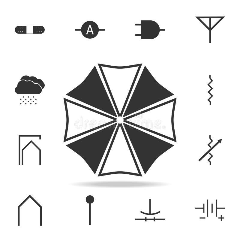 Symbol för paraply överst Detaljerad uppsättning av rengöringsduksymboler Högvärdig kvalitets- grafisk design En av samlingssymbo royaltyfri illustrationer