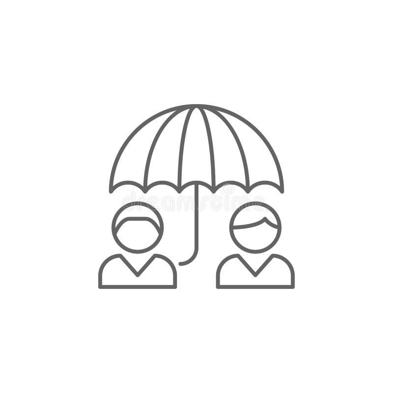symbol för paraplykamratskapöversikt Beståndsdelar av kamratskaplinjen symbol Tecknet, symboler och vektorer kan användas för ren royaltyfri illustrationer