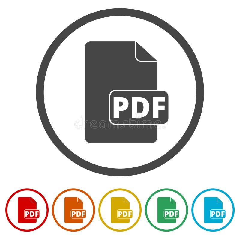 Symbol för PDF-mappdokument Röd rund klistermärke för vektor vektor illustrationer
