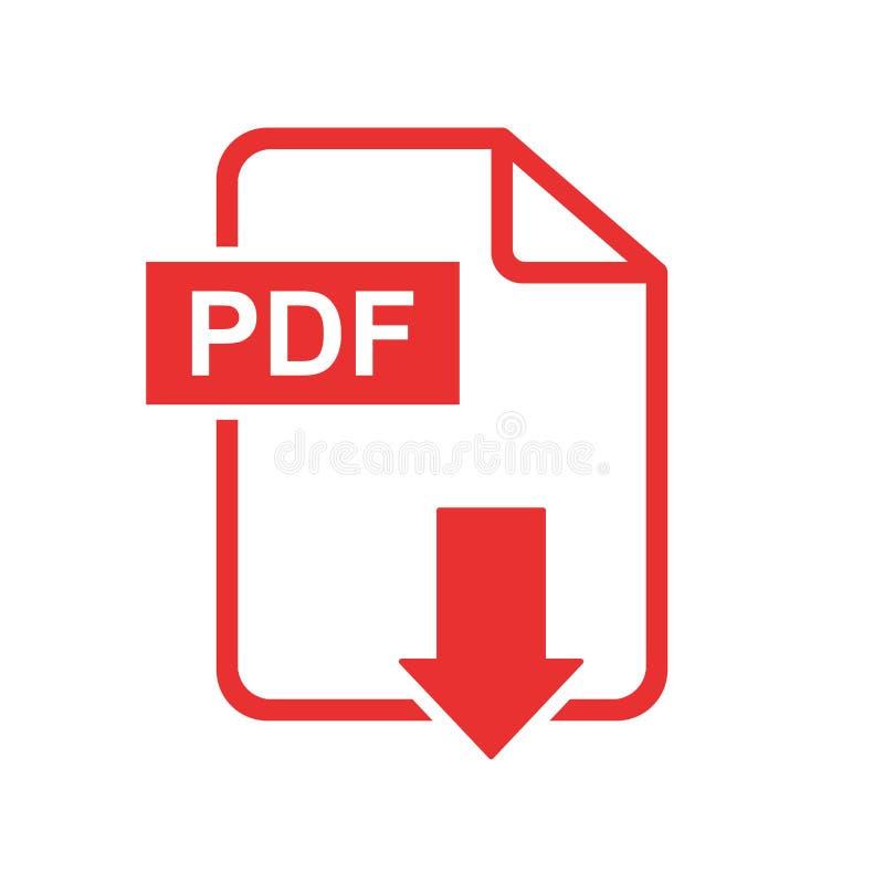 Symbol för Pdf-nedladdningvektor Enkel plan pictogram för affären, mor royaltyfri illustrationer