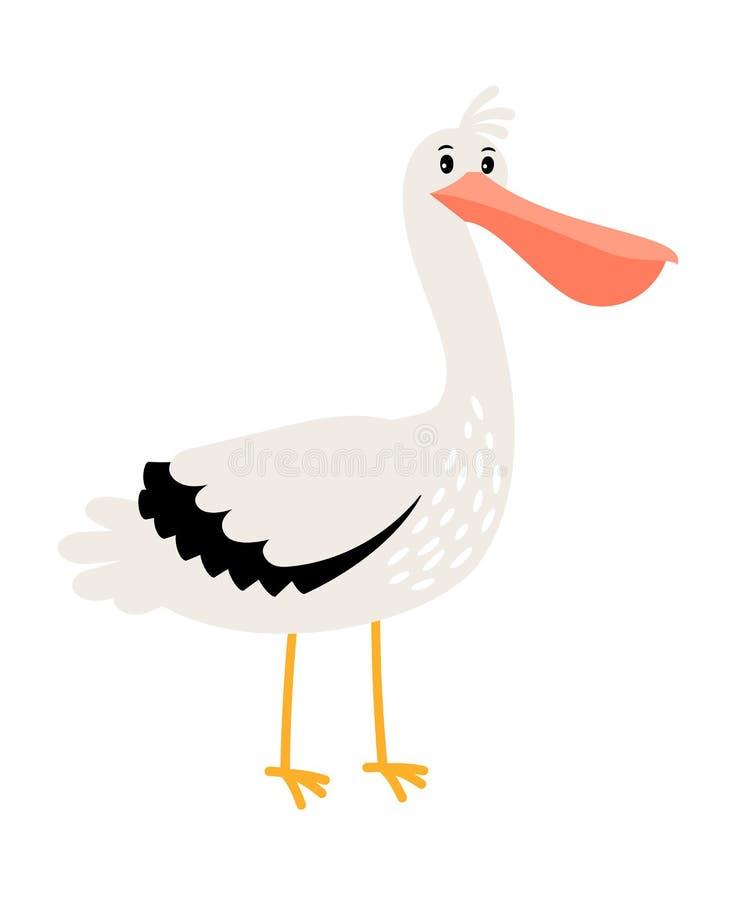 Symbol för pelikantecknad filmfågel royaltyfri illustrationer