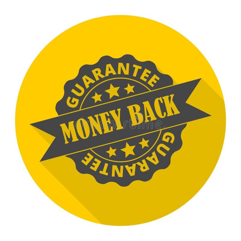 Symbol för pengarbaksidagaranti med lång skugga stock illustrationer