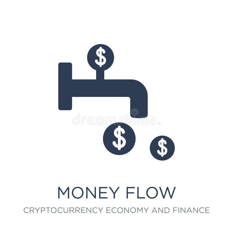 Symbol för pengarflöde Moderiktig plan symbol för vektorpengarflöde på vit bac vektor illustrationer