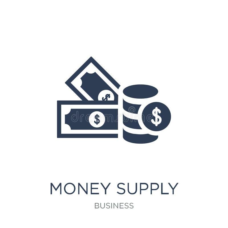 Symbol för pengartillförsel Moderiktig plan symbol för vektorpengartillförsel på vit royaltyfri illustrationer