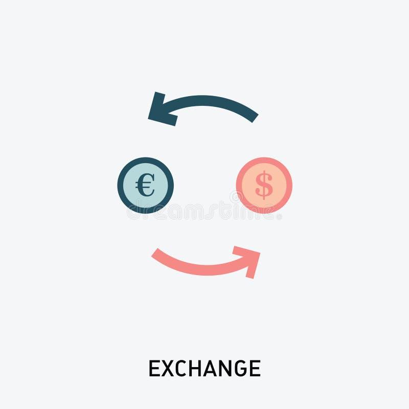 Symbol för pengarvalutautbyte Vektorillustration i modern plan stil stock illustrationer