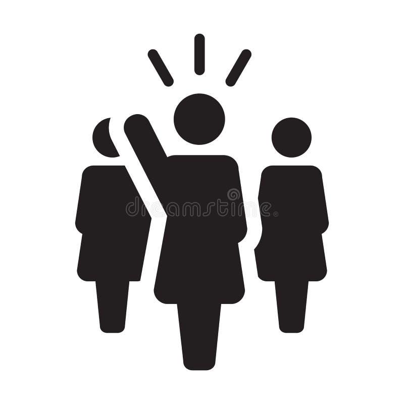 Symbol för person för offentlig högtalare för ledareIcon vektor kvinnligt för ledarskap med den lyftta handen i skårapictogram vektor illustrationer