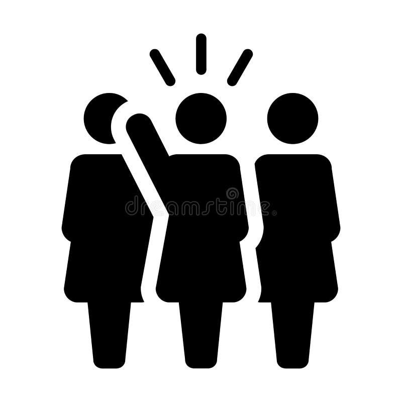 Symbol för person för offentlig högtalare för ledareIcon vektor kvinnligt för ledarskap med den lyftta handen i skårapictogram royaltyfri illustrationer