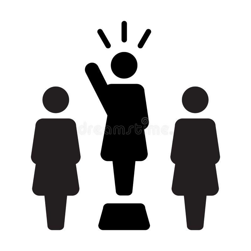 Symbol för person för offentlig högtalare för ledareIcon vektor kvinnligt för ledarskap med den lyftta handen i skårapictogram stock illustrationer