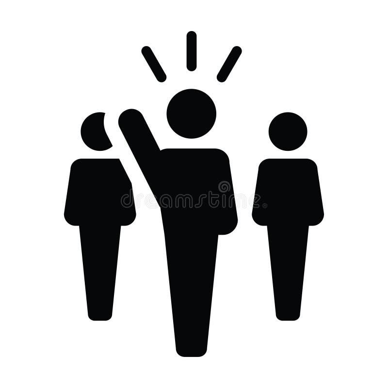 Symbol för person för offentlig högtalare för ledareIcon vektor manligt för ledarskap stock illustrationer