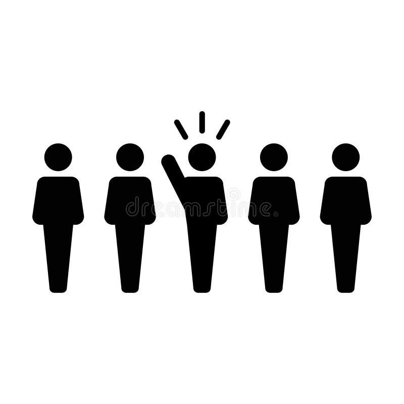 Symbol för person för offentlig högtalare för ledareIcon vektor manligt för ledarskap med den lyftta handen i skårapictogram royaltyfri illustrationer