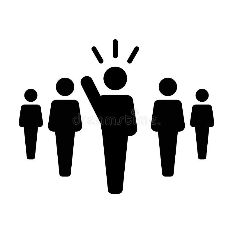 Symbol för person för offentlig högtalare för ledareIcon vektor manligt för ledarskap med den lyftta handen i skårapictogram stock illustrationer