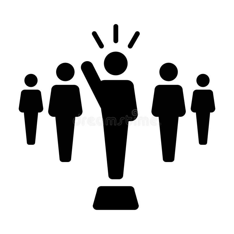 Symbol för person för offentlig högtalare för ledareIcon vektor manligt för ledarskap med den lyftta handen i skårapictogram vektor illustrationer