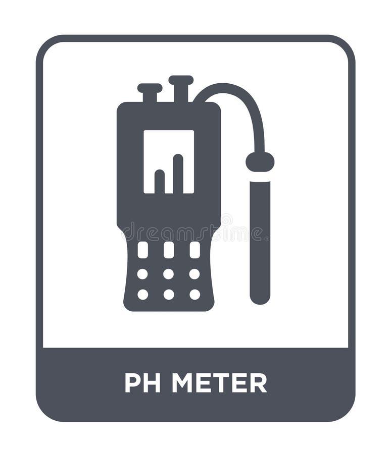 symbol för ph-meter i moderiktig designstil symbol för ph-meter som isoleras på vit bakgrund lägenhet för symbol för vektor för p royaltyfri illustrationer