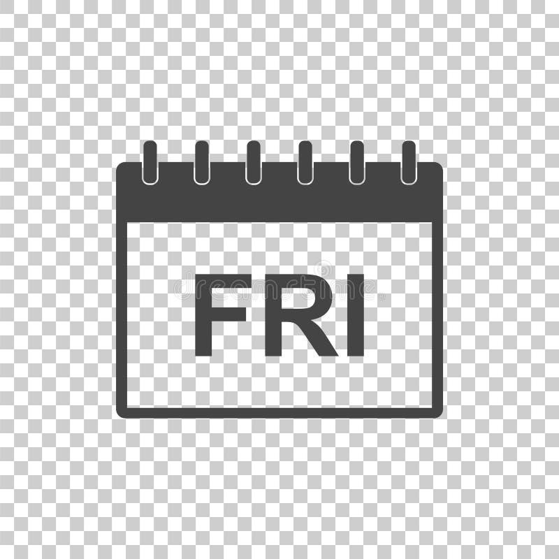 Symbol för pictogram för fredag kalendersida Enkel plan pictogram för b royaltyfri illustrationer