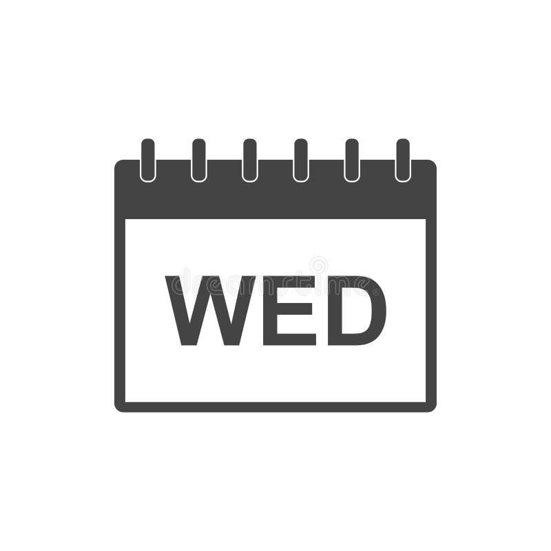 Symbol för pictogram för onsdag kalendersida Enkel plan pictogram fo royaltyfri illustrationer