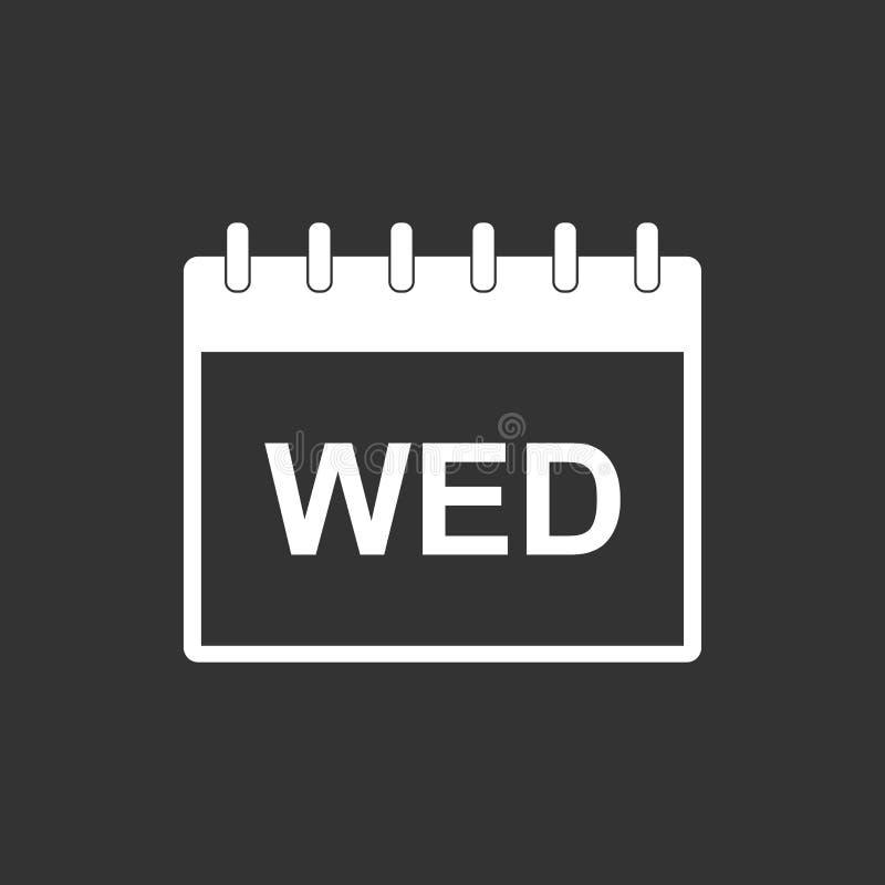 Symbol för pictogram för onsdag kalendersida Enkel plan pictogram fo stock illustrationer