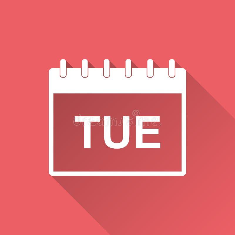 Symbol för pictogram för tisdag kalendersida Enkel plan pictogram för stock illustrationer