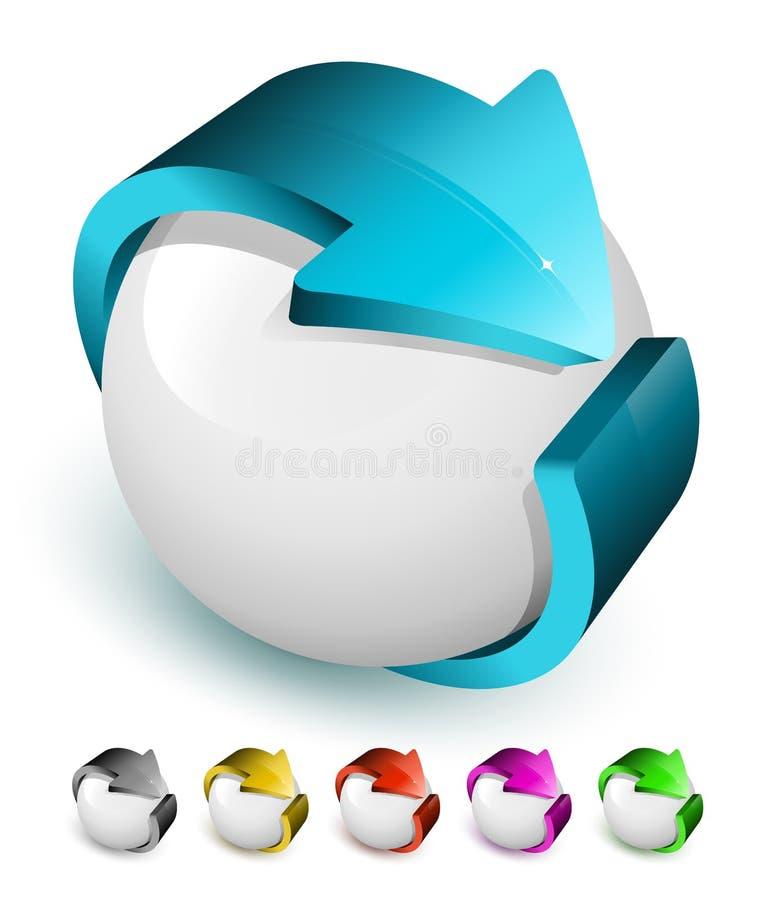 symbol för pil 3d royaltyfri illustrationer
