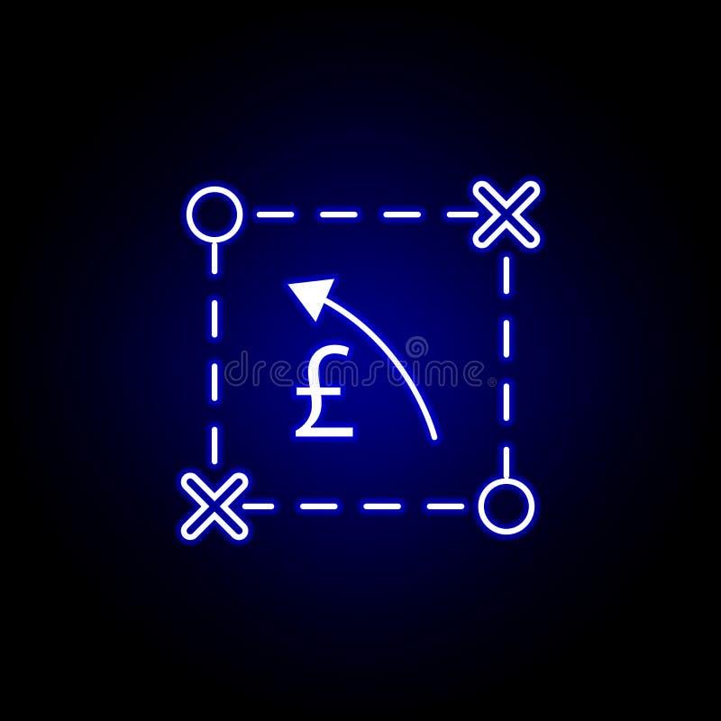 symbol för pil för planintrigpund i neonstil Best?ndsdel av finansillustrationen Tecknet och symbolsymbolen kan anv?ndas f?r reng royaltyfri illustrationer
