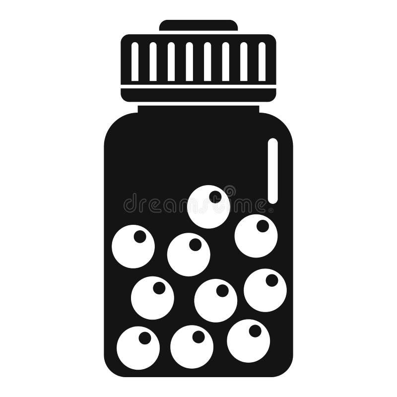 Symbol för pillerbollkrus, enkel stil royaltyfri illustrationer